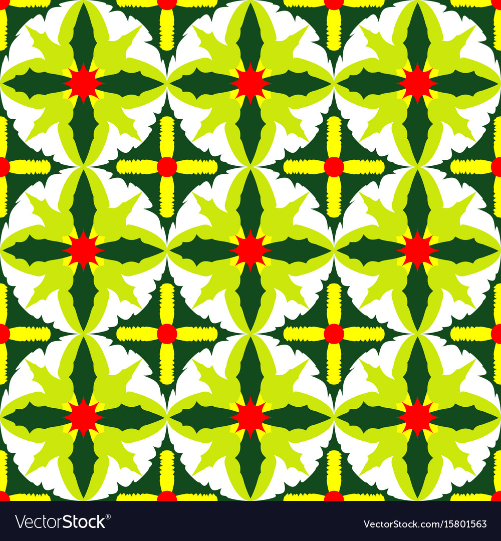 Seamless pattern of exotic green leaves