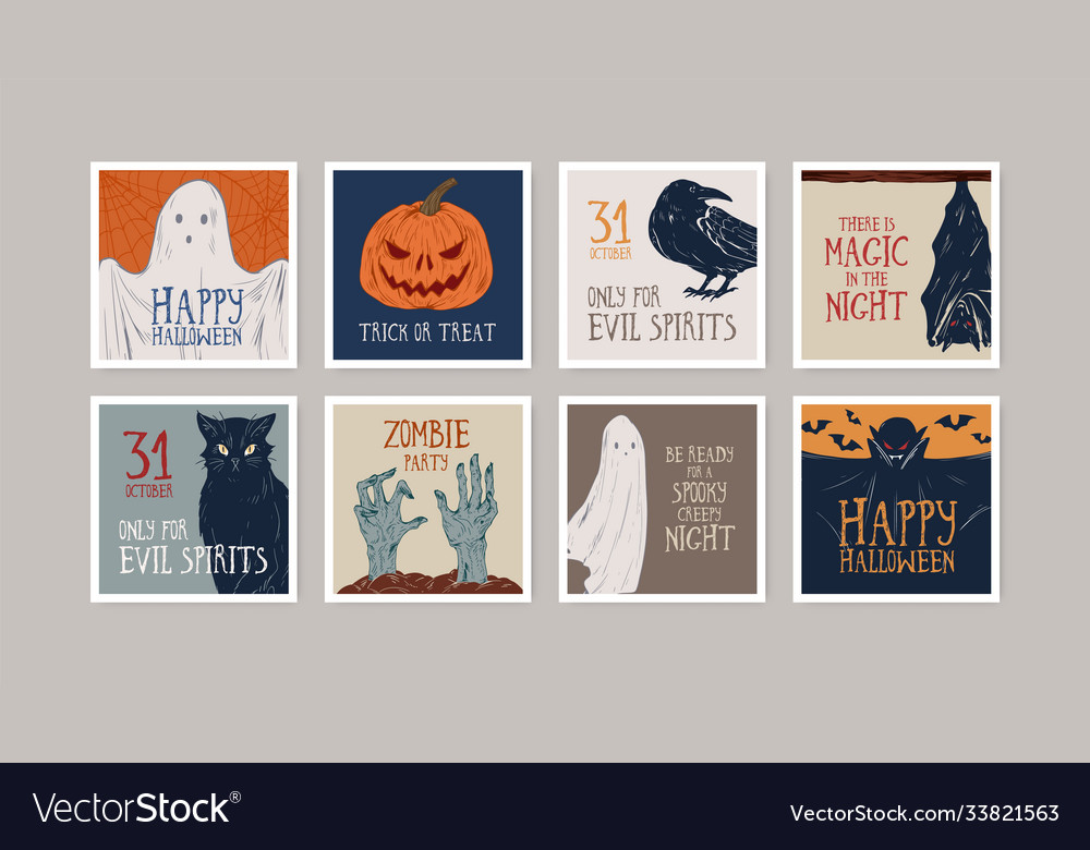 Set different hand drawn halloween greeting