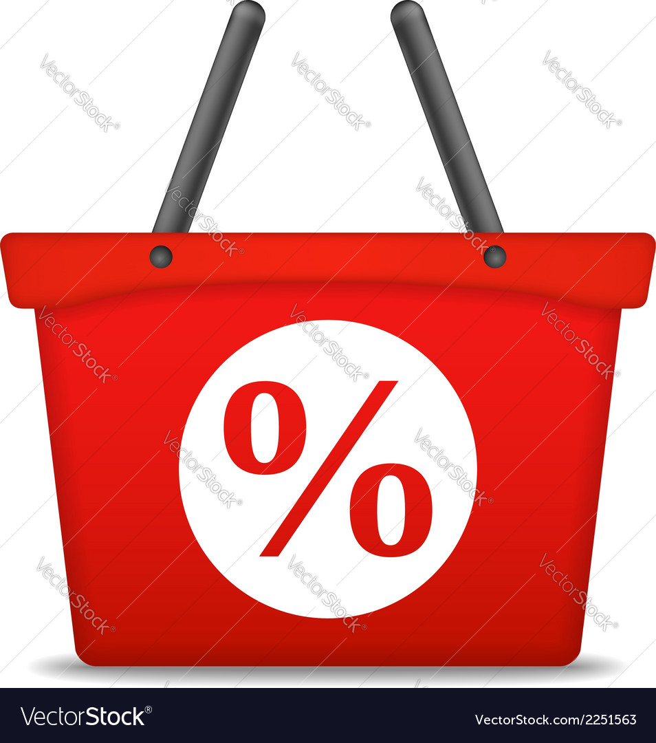 Shopping Basket with Percent Sign