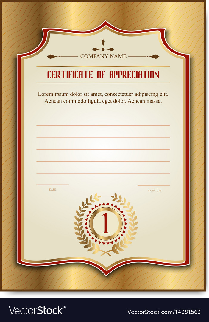 Template Gold Certificates With The Medal Laurel Vector Image