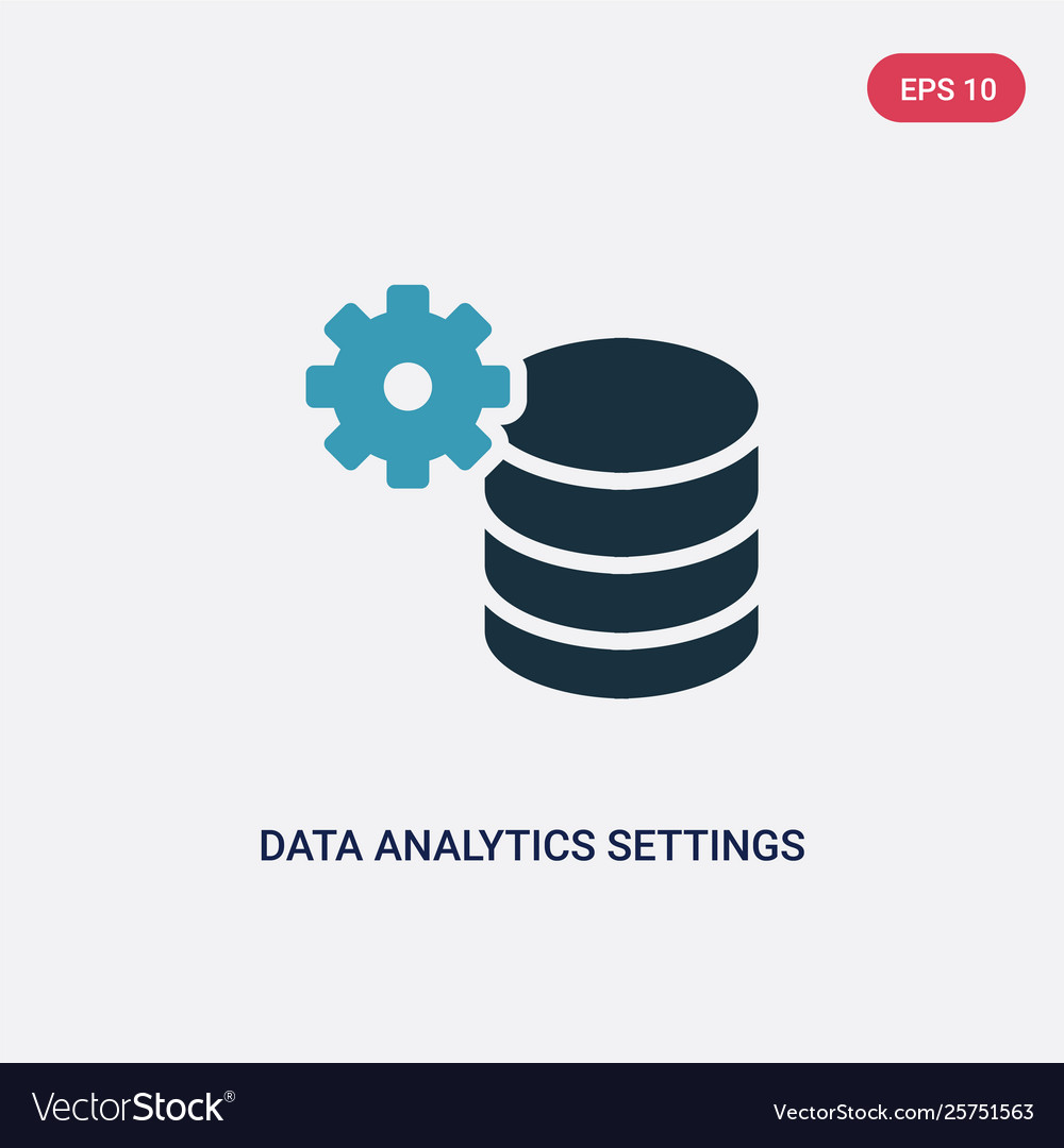 Two color data analytics settings icon from user