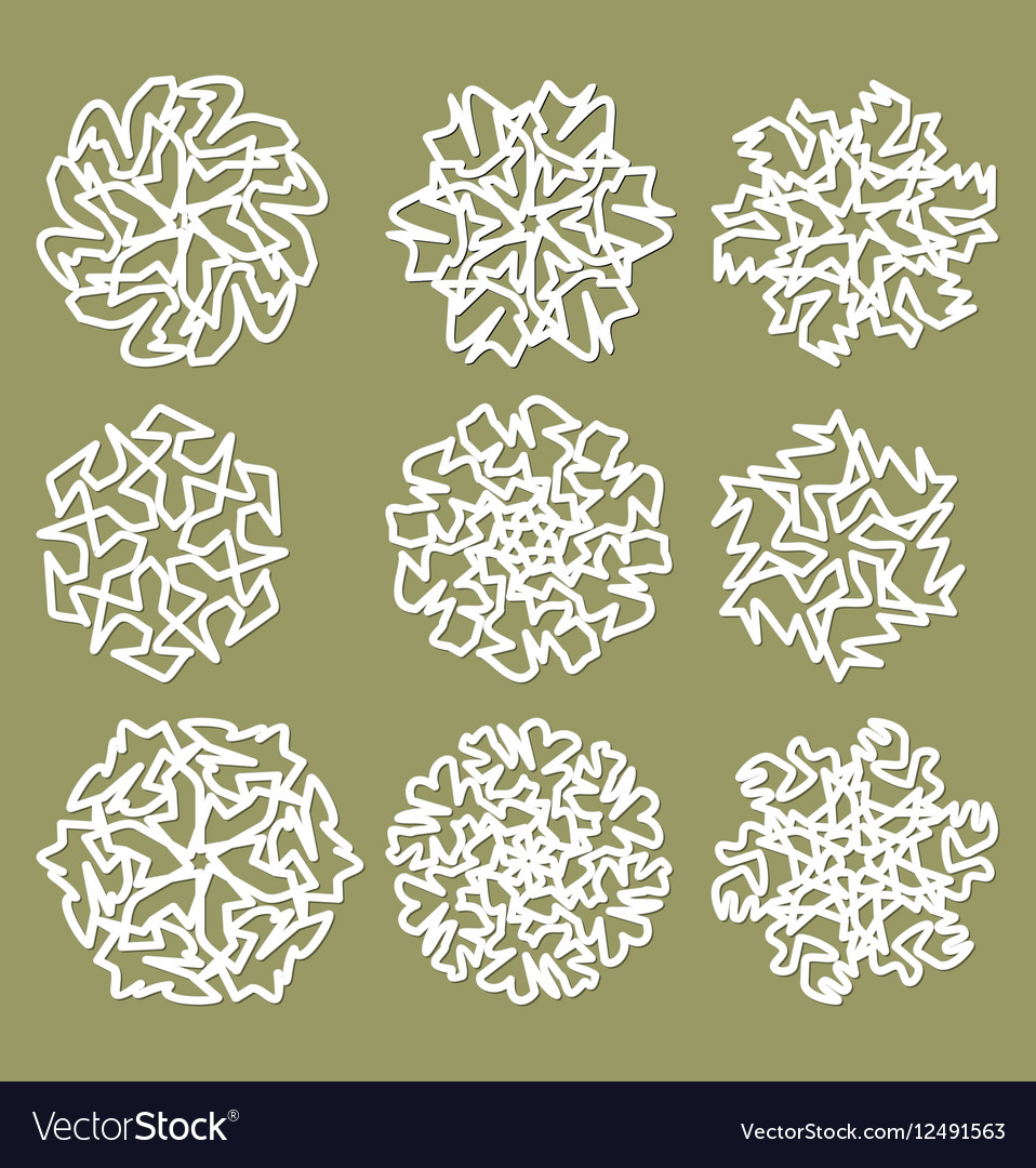 White geometric star shapes snowflakes with fine