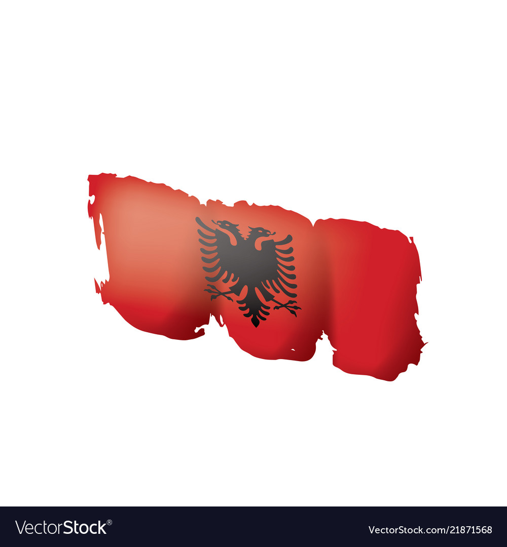 Albania flag on a white