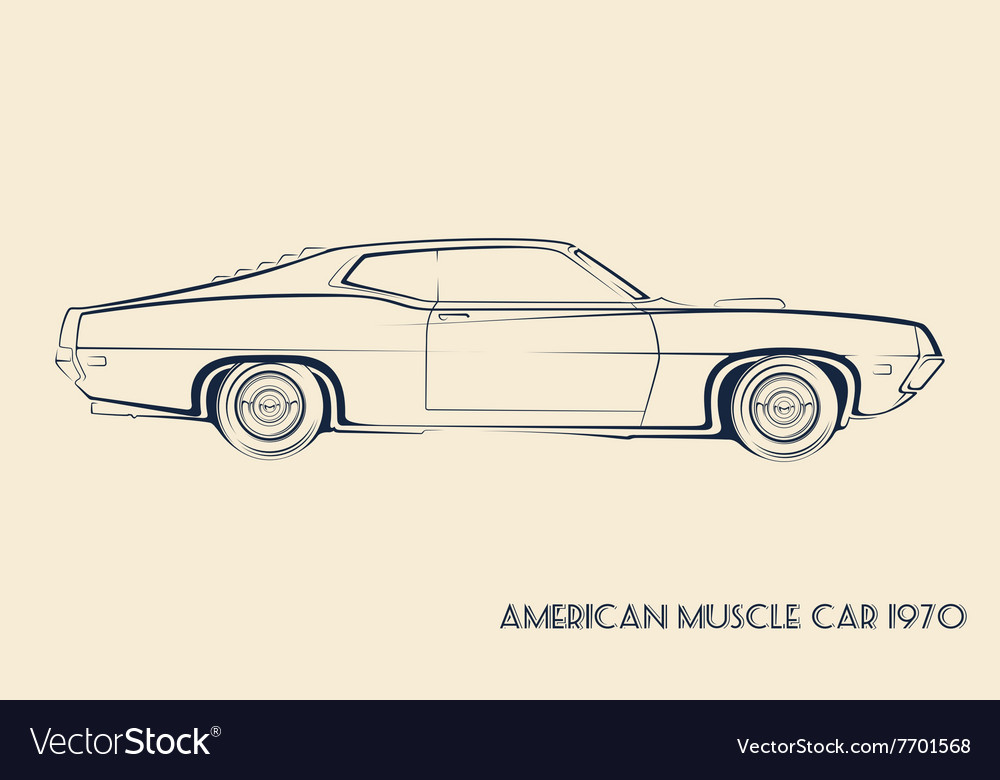 American Muscle Car Silhouette 70s Royalty Free Vector Image