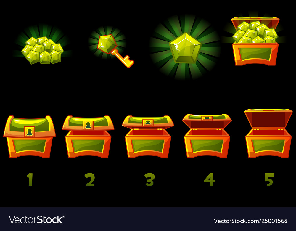 Animated treasure chest with green precious gem
