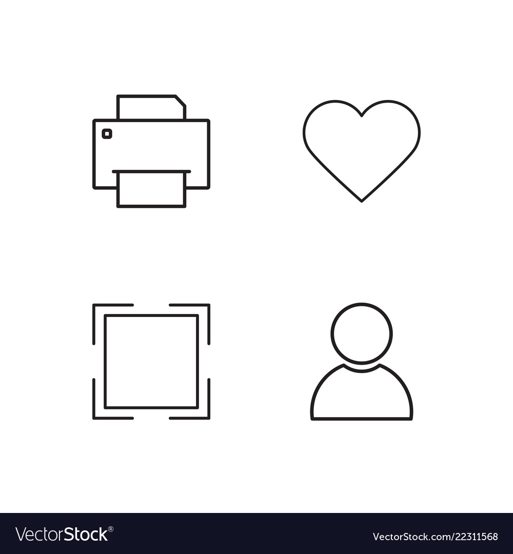 Business Simple Outlined Icons Set Vector Image On Vectorstock