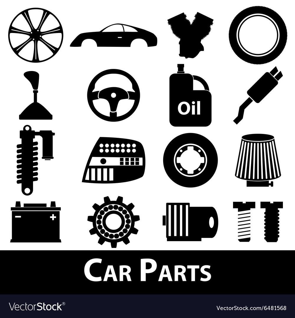 Car parts store simple black icons set eps10