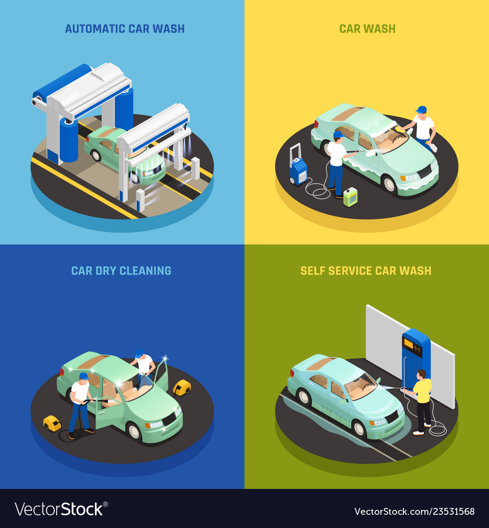 Carwash concept icons set