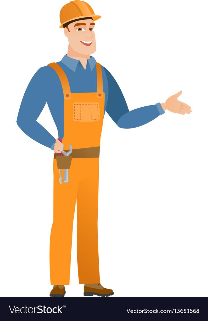 Caucasian builder with tool belt