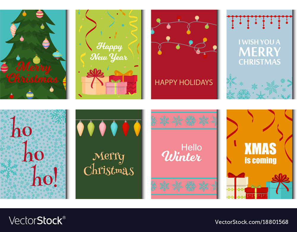 Christmas Posters Set Winter Card Xmas Holiday New