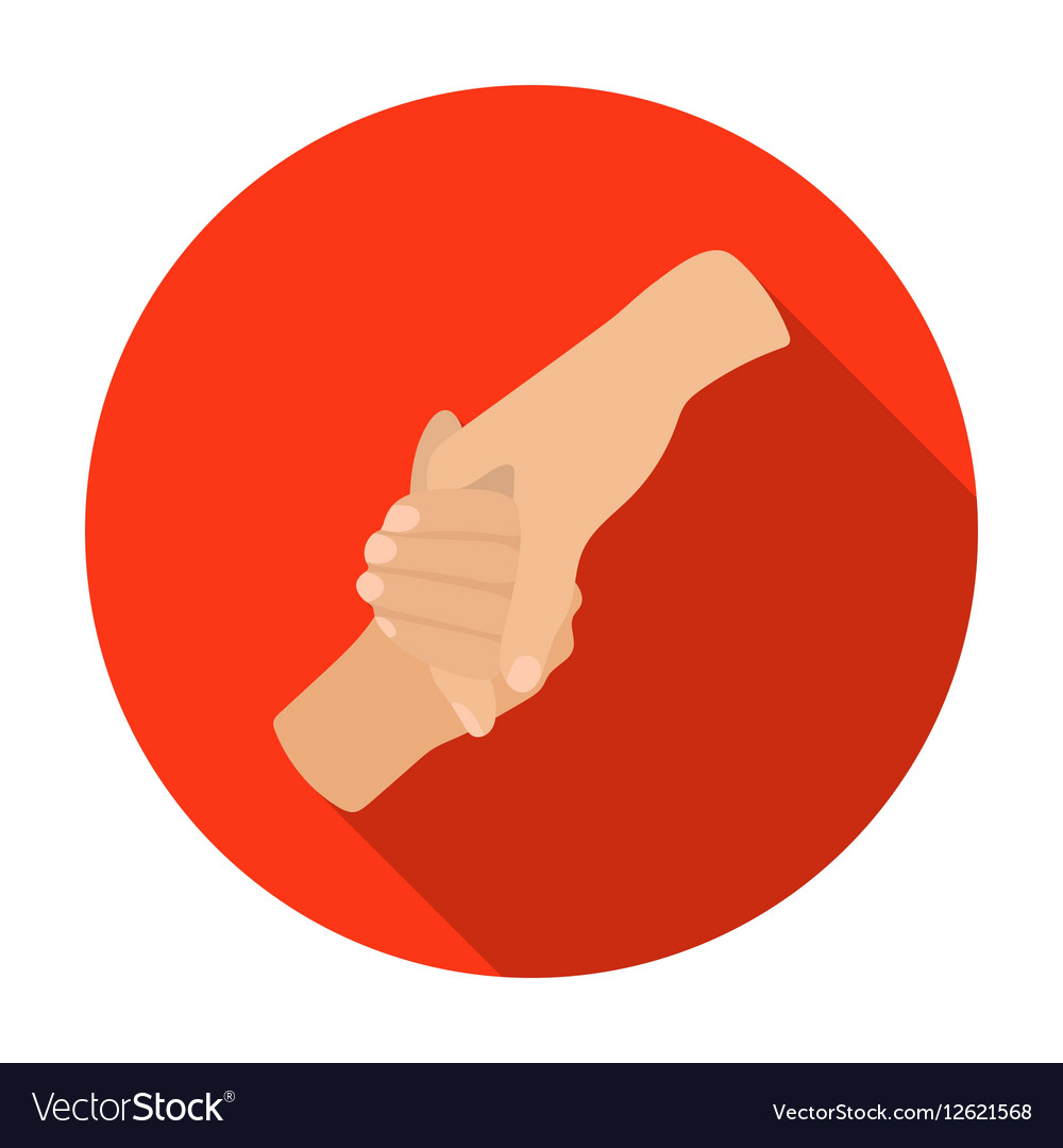 Hands holding icon in flat style isolated on white