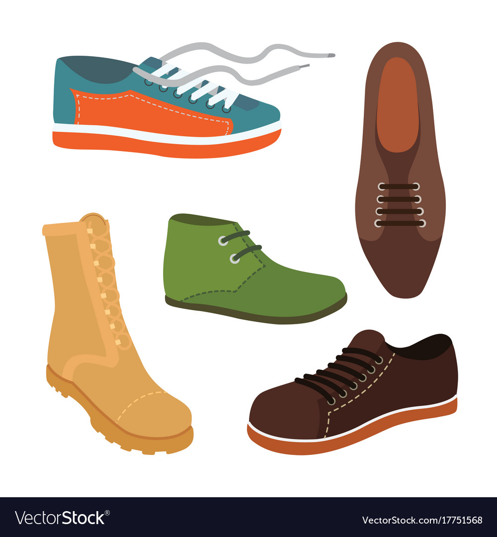 Male man season shoes in flat style men boots vector image