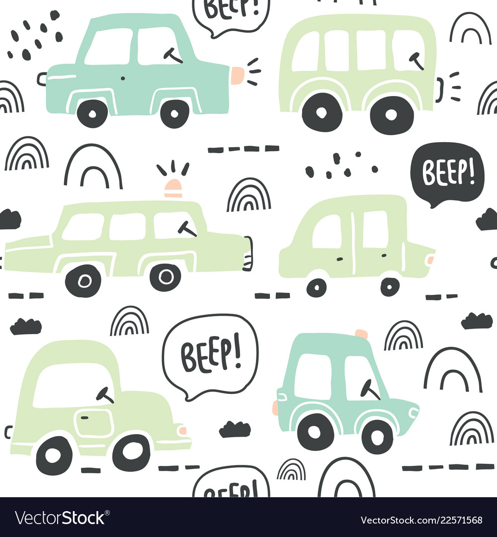 Seamless pattern with hand drawn cute car