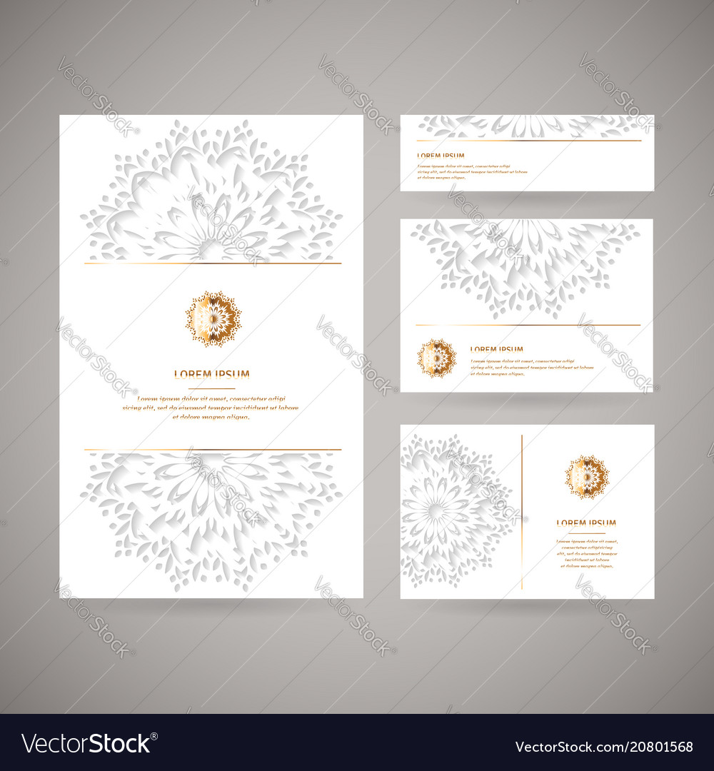 Set of four ornamental gold cards with flower