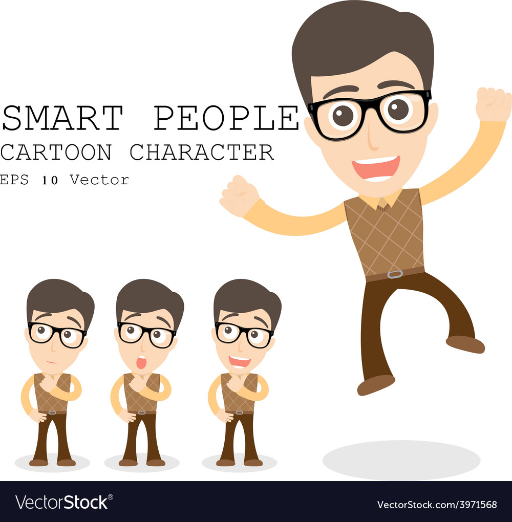 Smart people cartoon character eps 10