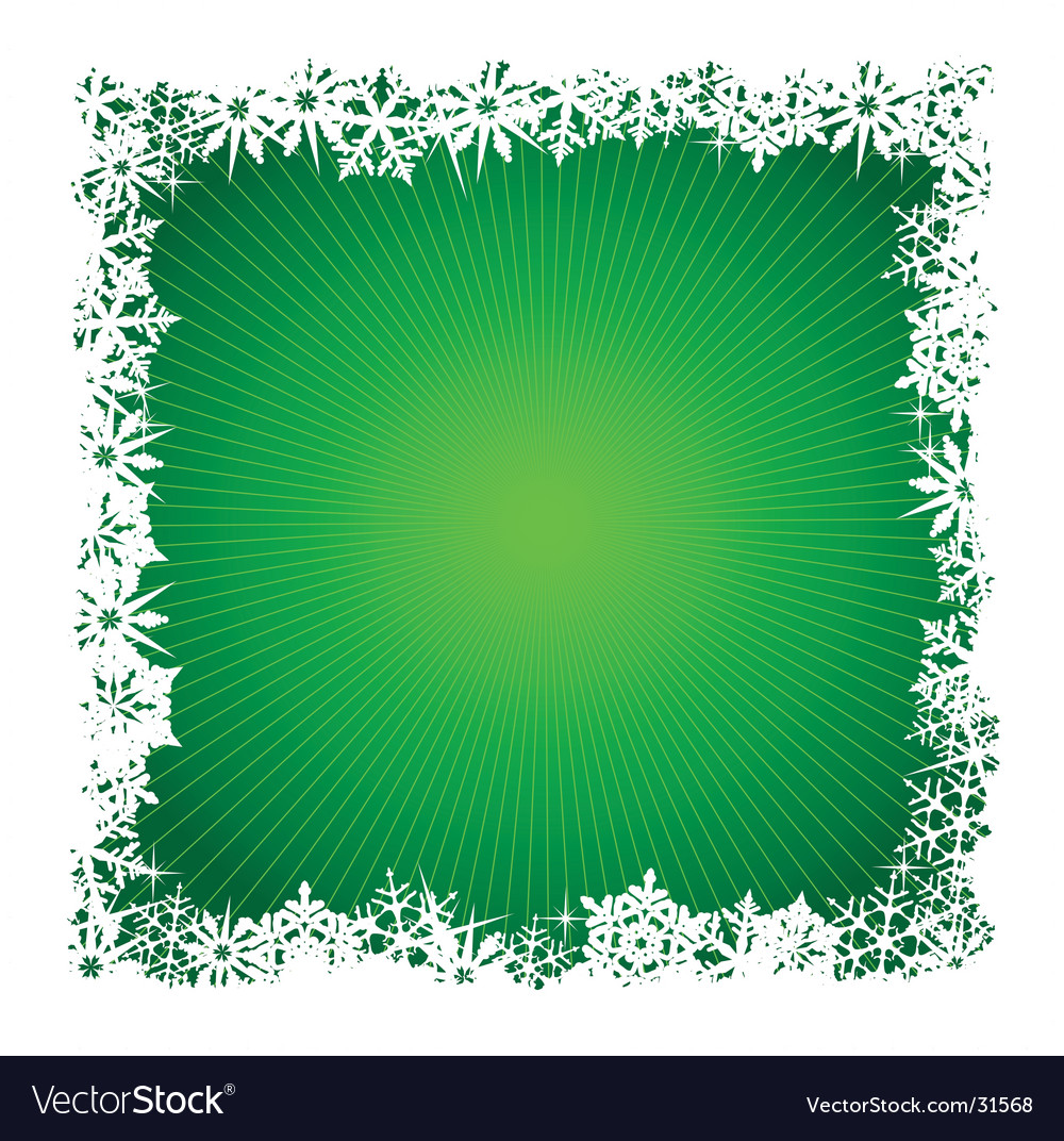 Square green snowflake background vector image
