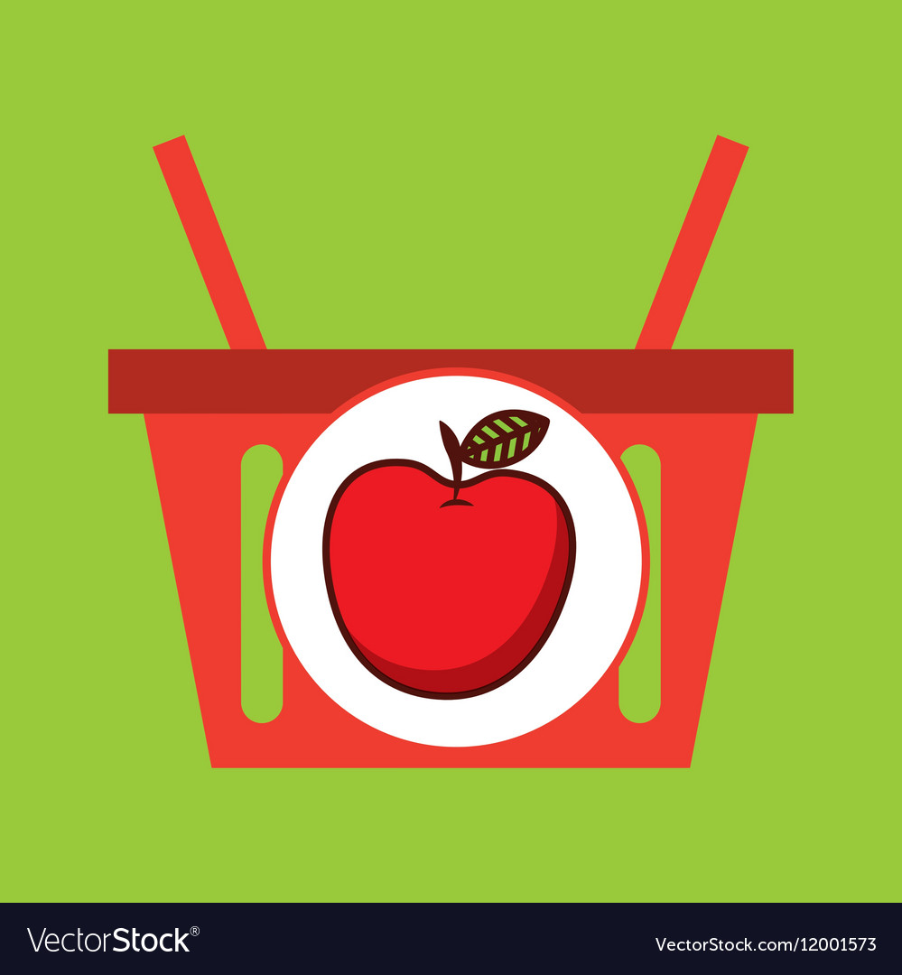 Basket shopping apple juicy fruit vector image
