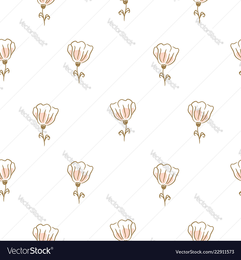 Botanical flowers seamless pattern for