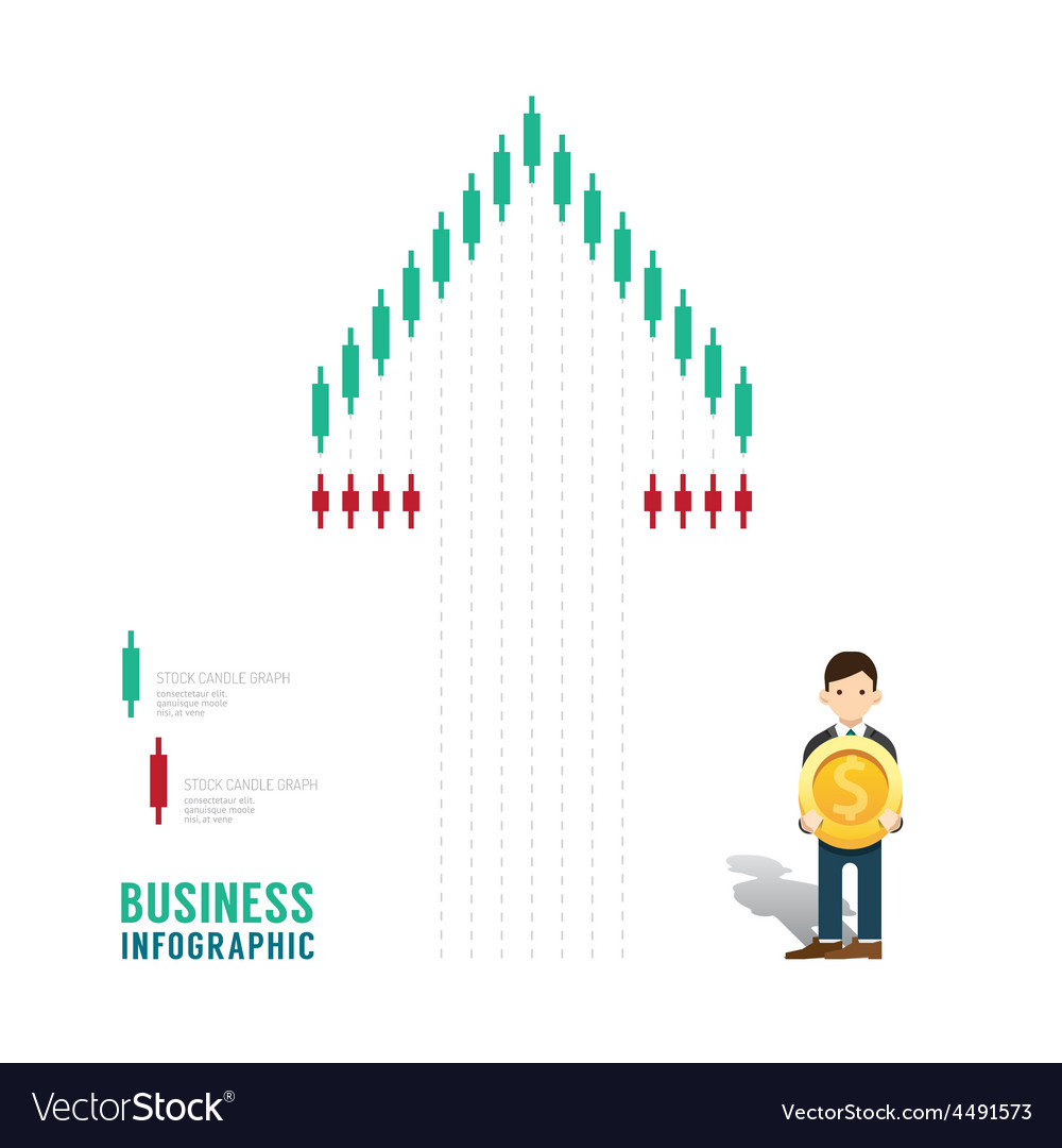 Business infographic stock candle chart graph