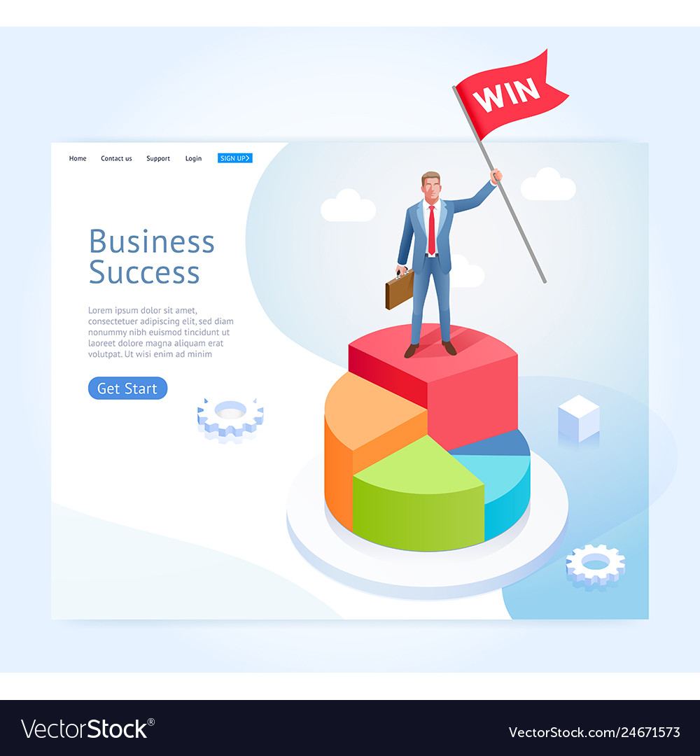 Businessman with red flag stand on infographics