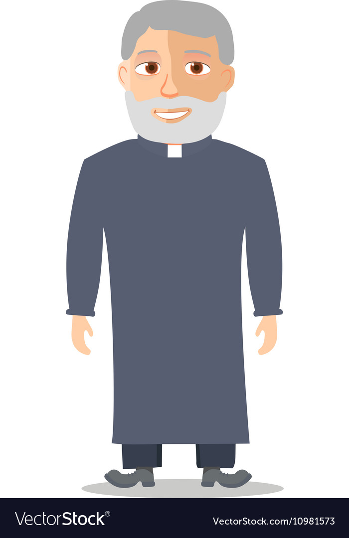 Cartoon Character Old man like a priest