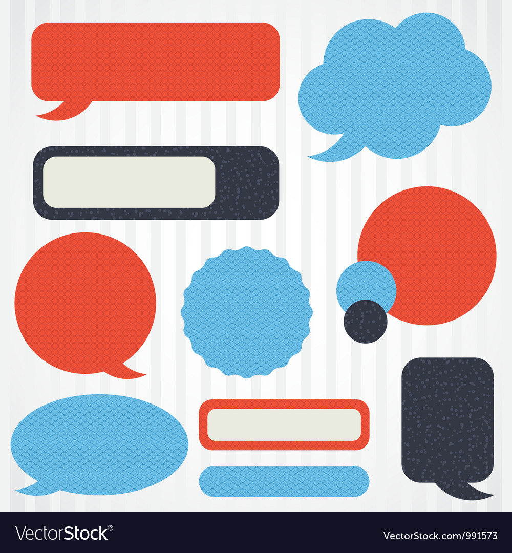 Collection of retro speech bubbles and dialog vector image