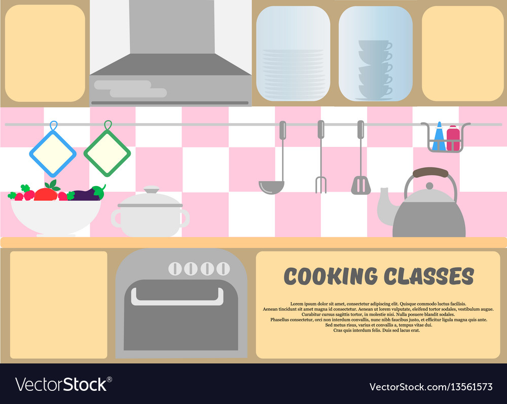 Cooking classes poster kitchen dishes kitchen