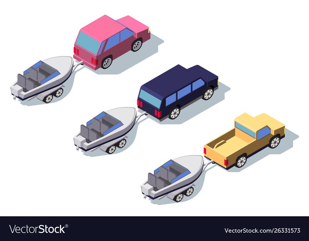 Isometric 3d back view classic pickup truck car