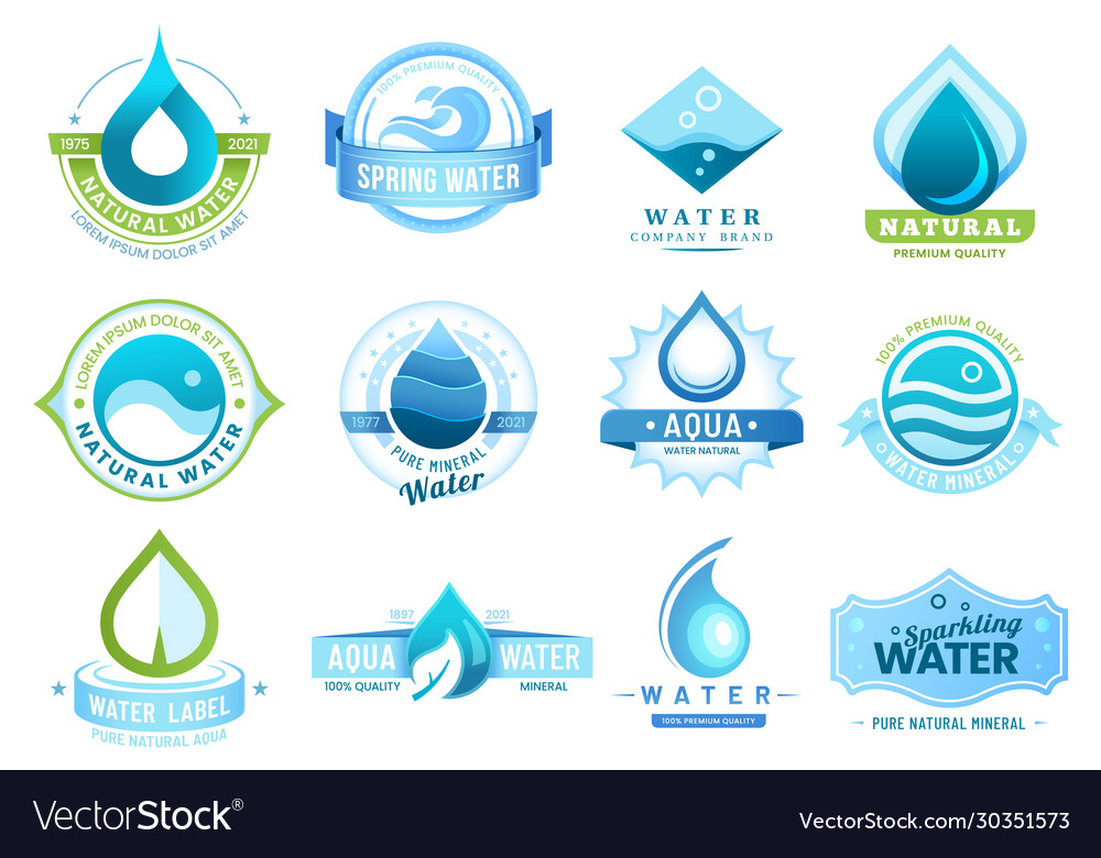 Mineral water labels drinking water drops leaf