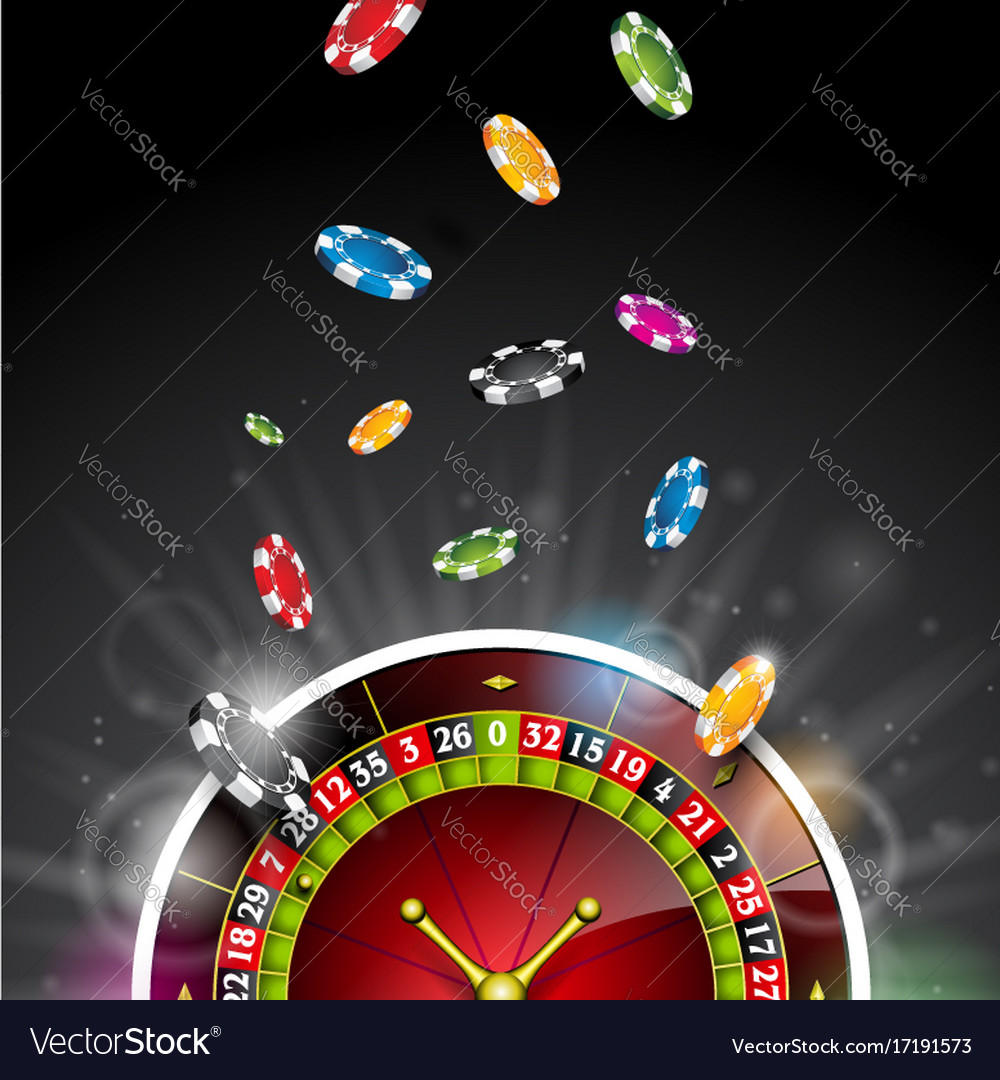 On a casino theme with color playing chips and