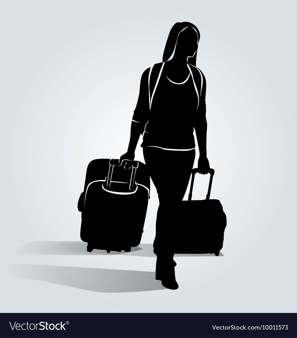 Silhouette of a woman with a suitcase