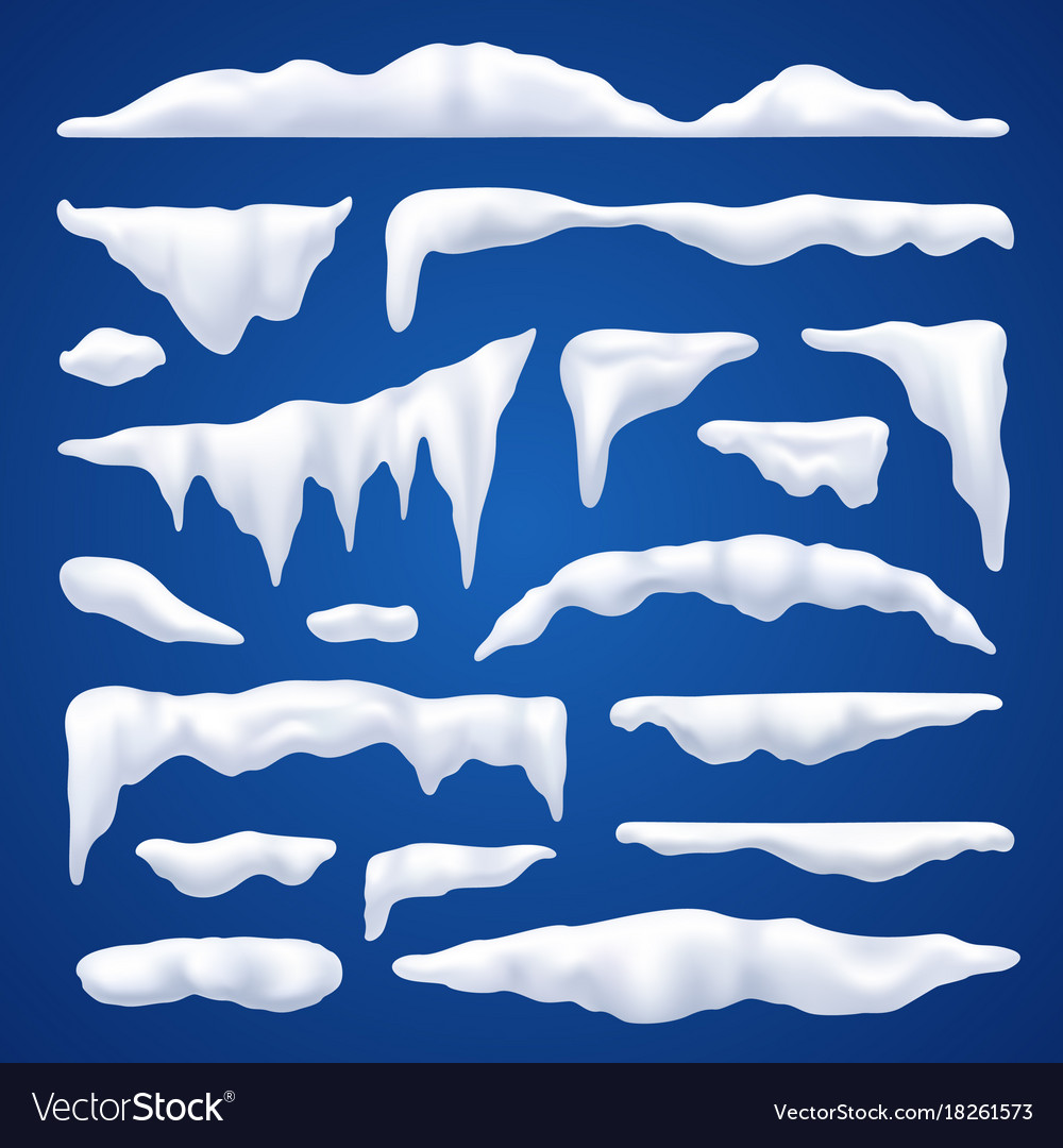 Snow capes and piles winter set vector image