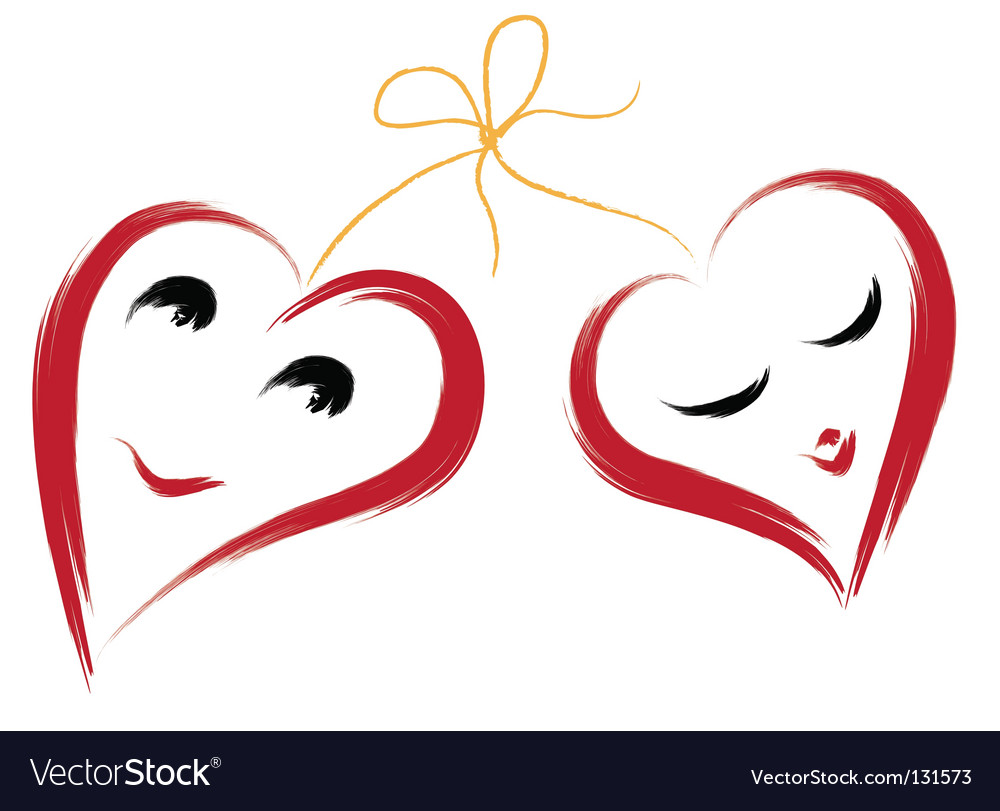 Two smiling hearts vector image