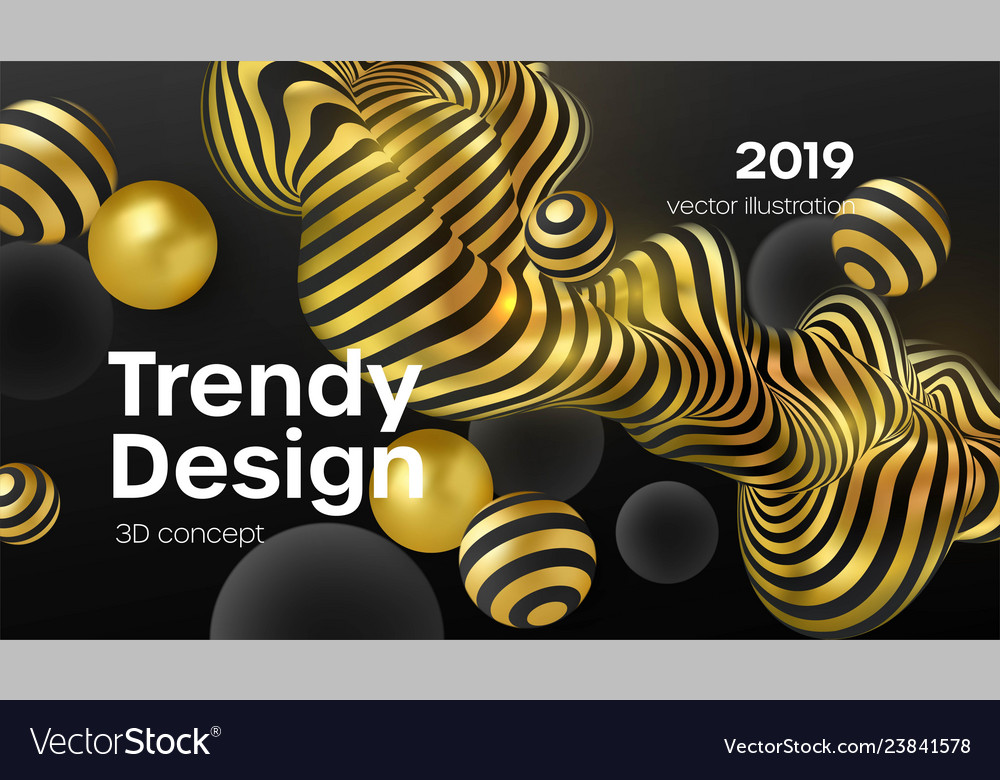 Abstract background with 3d dynamic shapes black