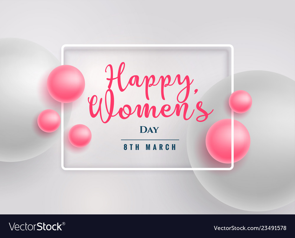 Beautiful pink pearls happy womens day background