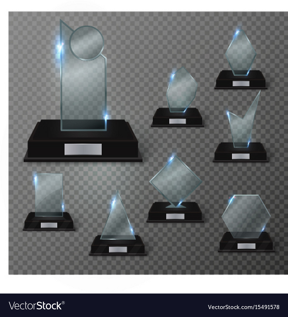 Blank glass trophy award on a transparent