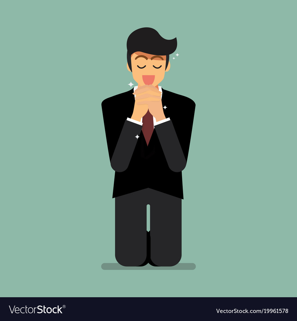 Businesssman is on his knees and prays to god