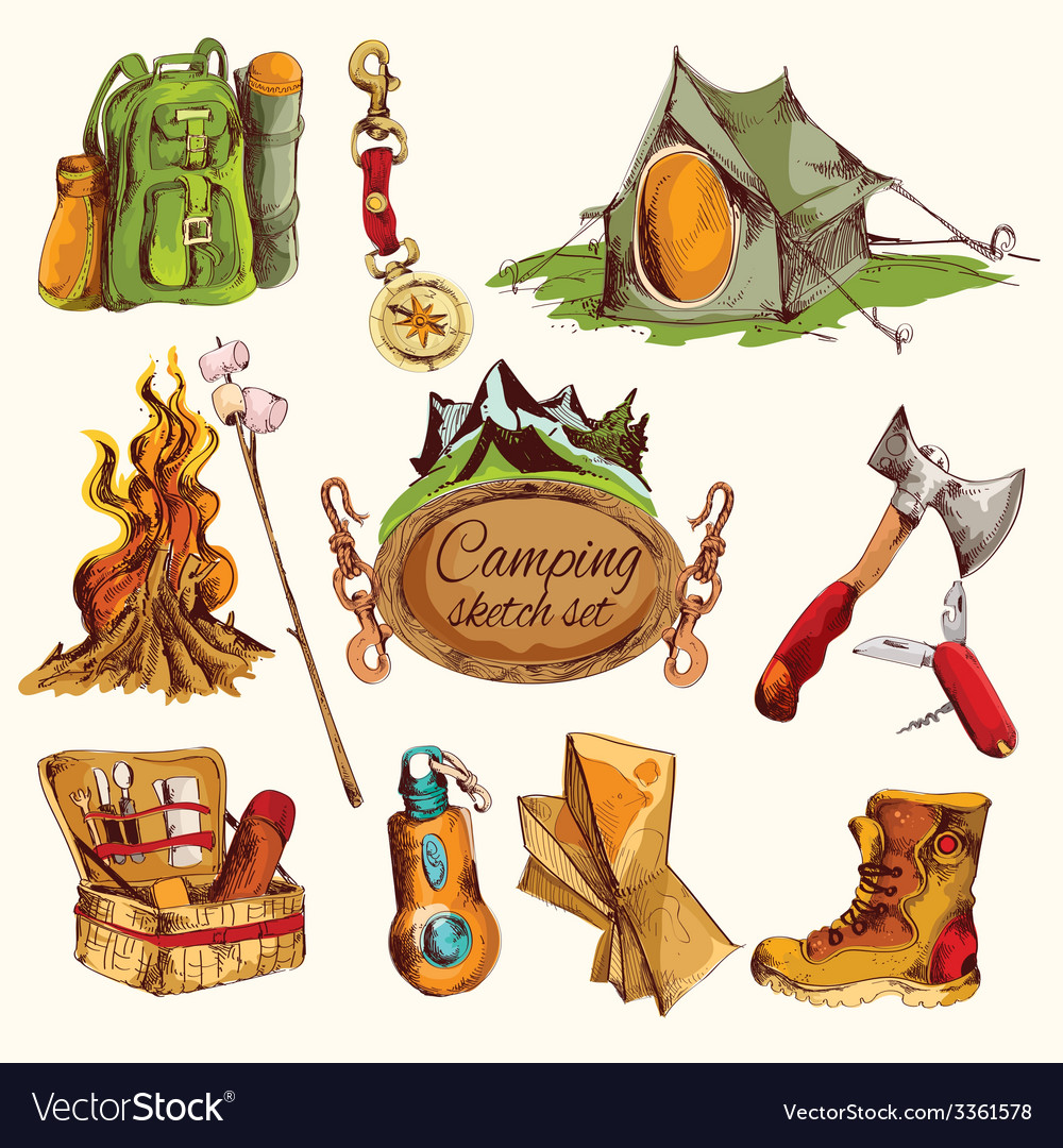 Camping sketch set colored vector image