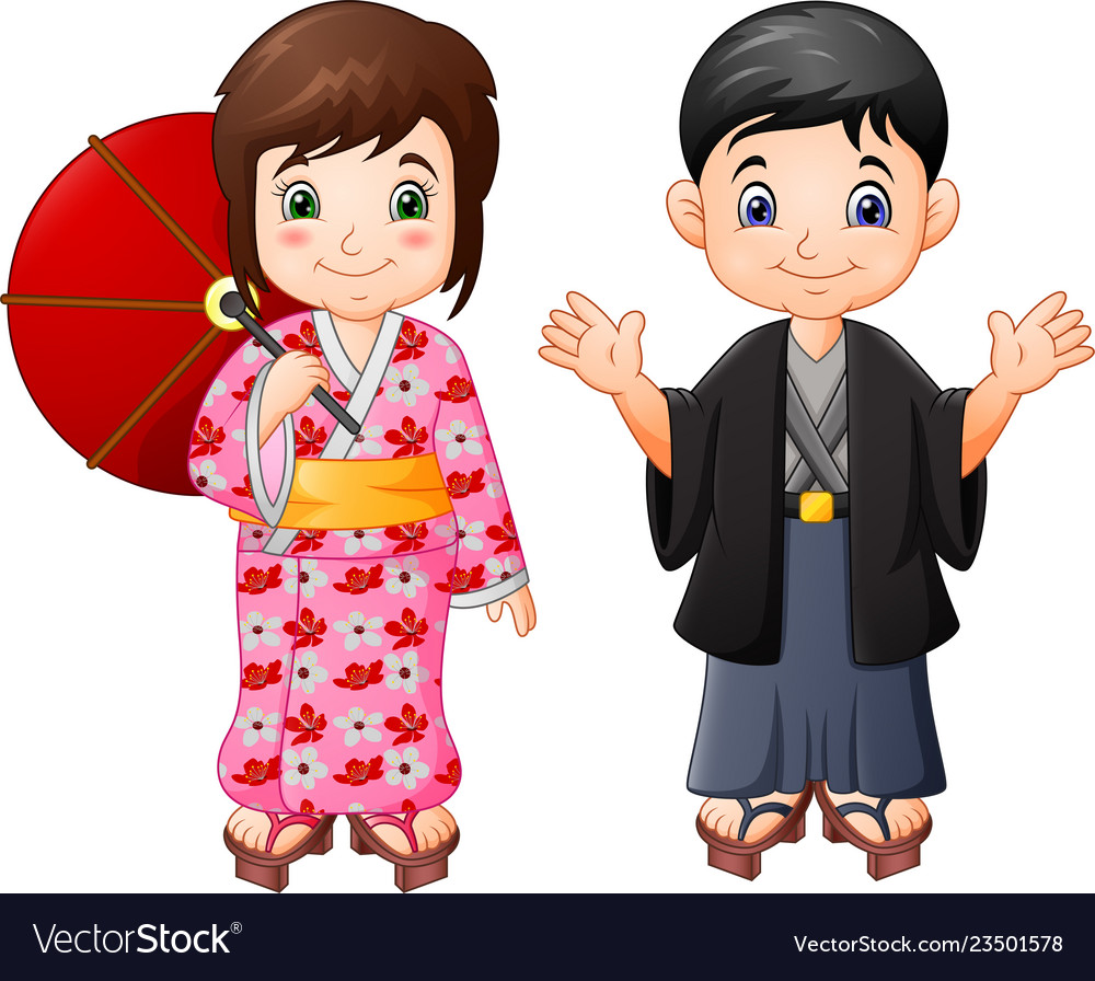 Cartoon japanese boy and girl in traditional unifo