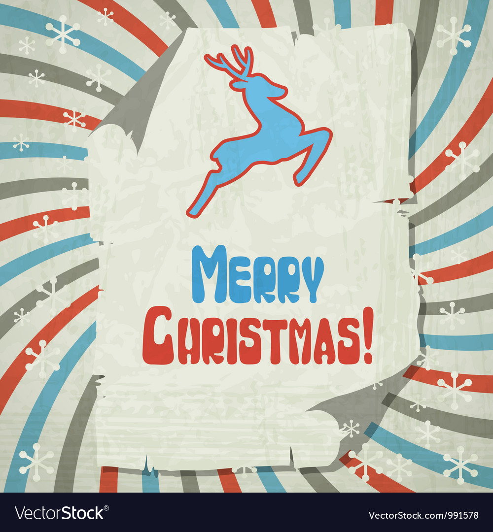 Christmas background with jumping stylized deer