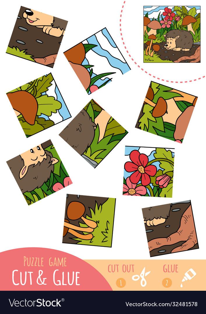 Education puzzle game for children hedgehog