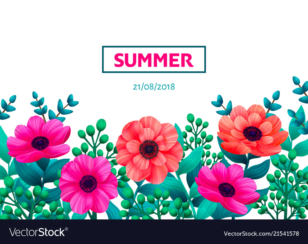Floral frame tropical flowers trendy template