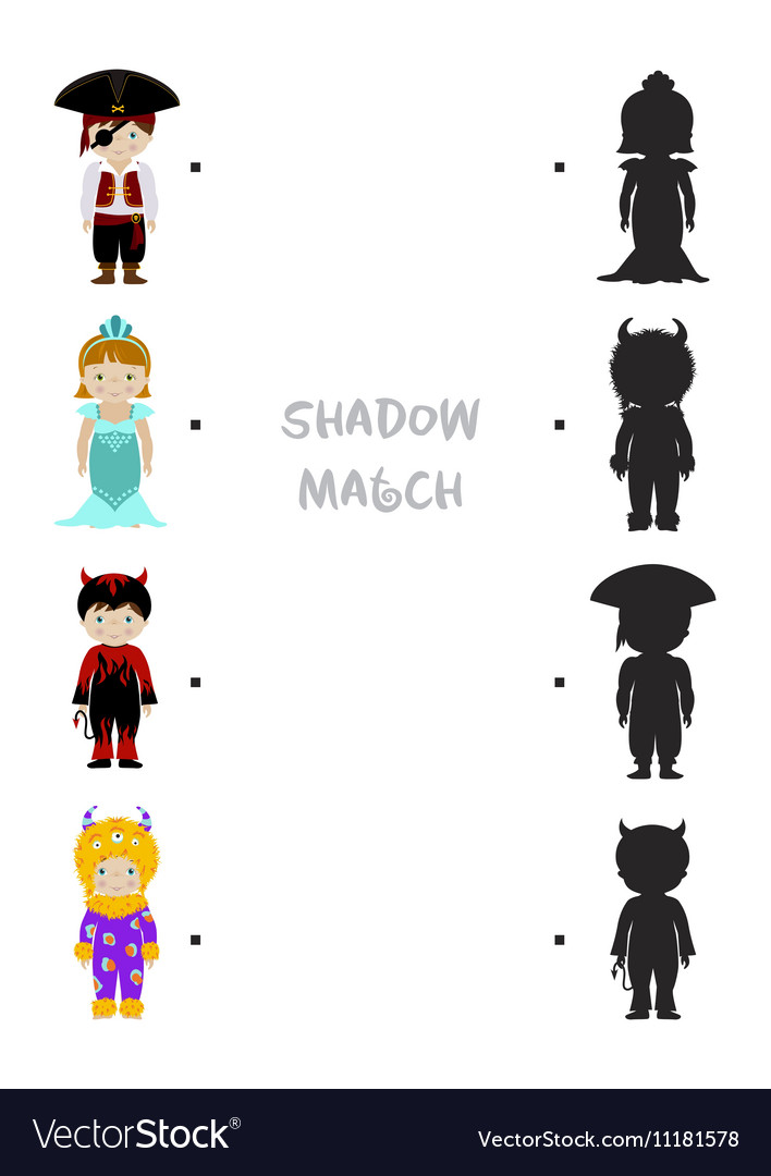Halloween shadow matching game for kids