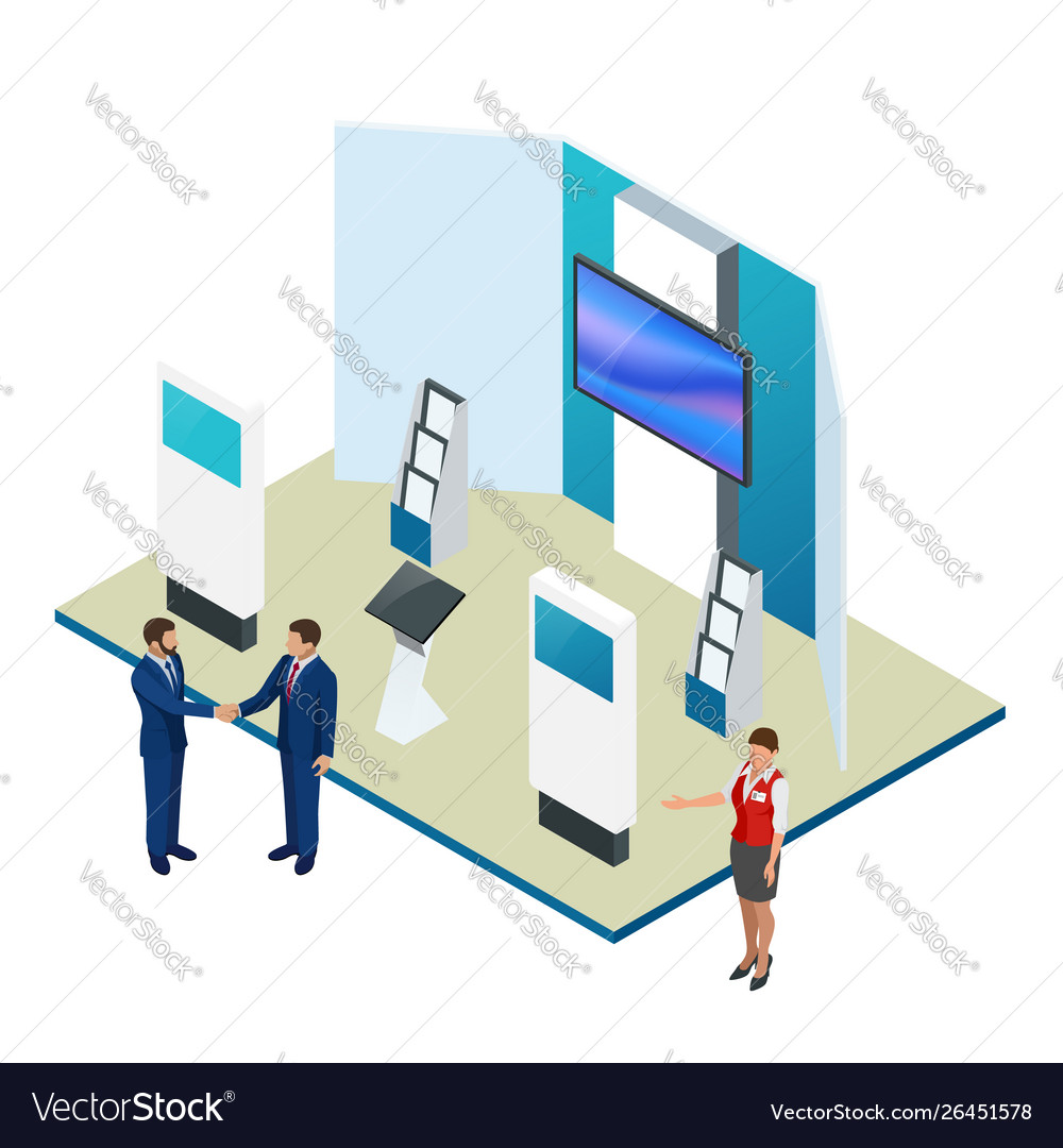 Isometric expo stands exhibition demonstration
