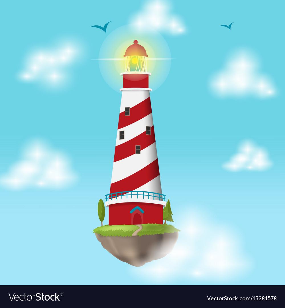 Lighthouse float island cloud design vector image