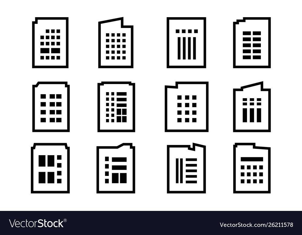 Line company icons set on white background black