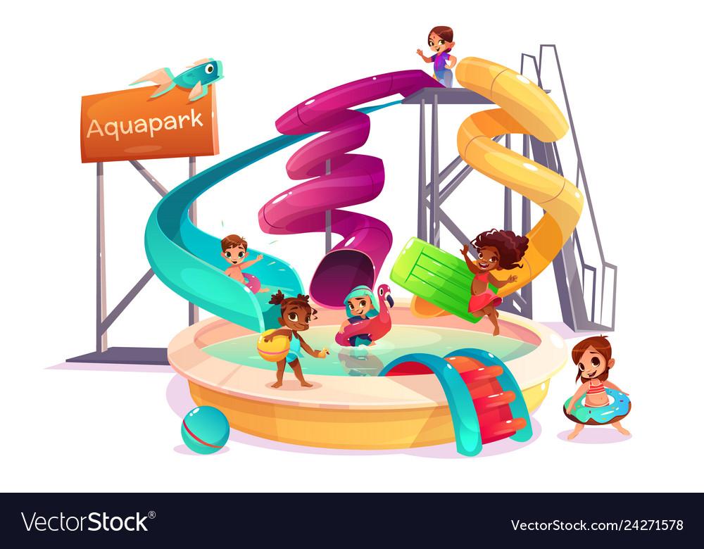 Multinational kids in water park cartoon