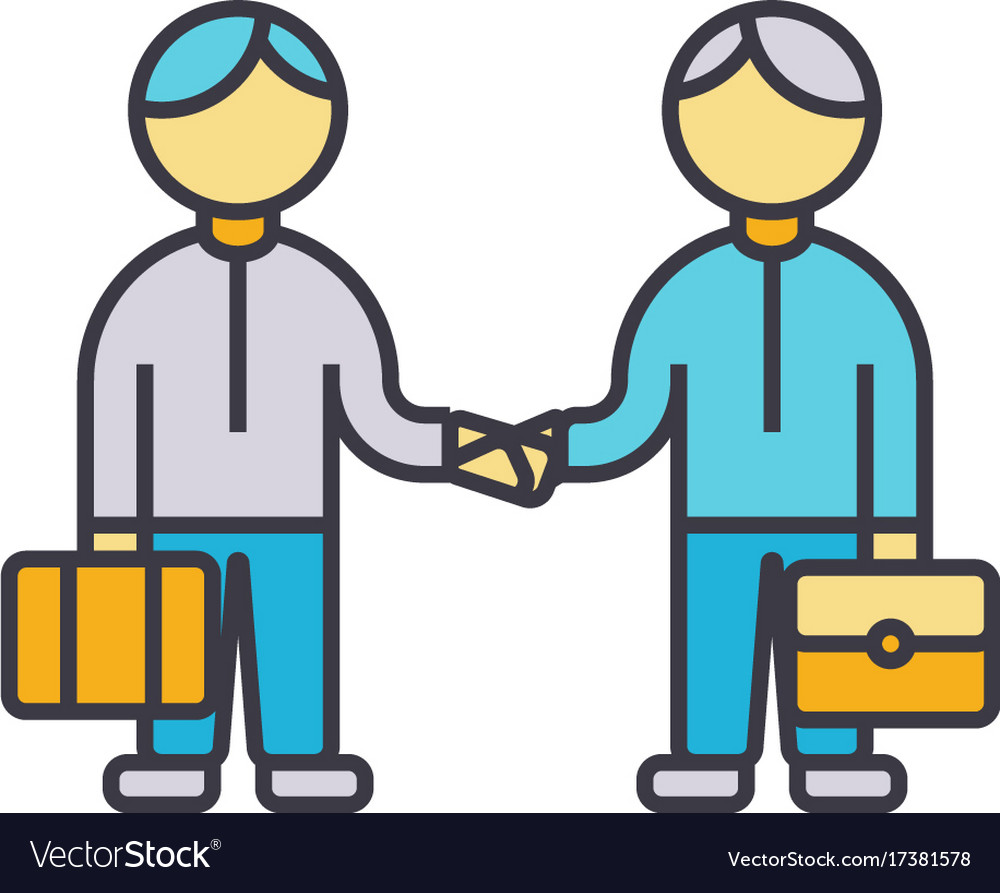 Partnership handshake working together flat line vector image