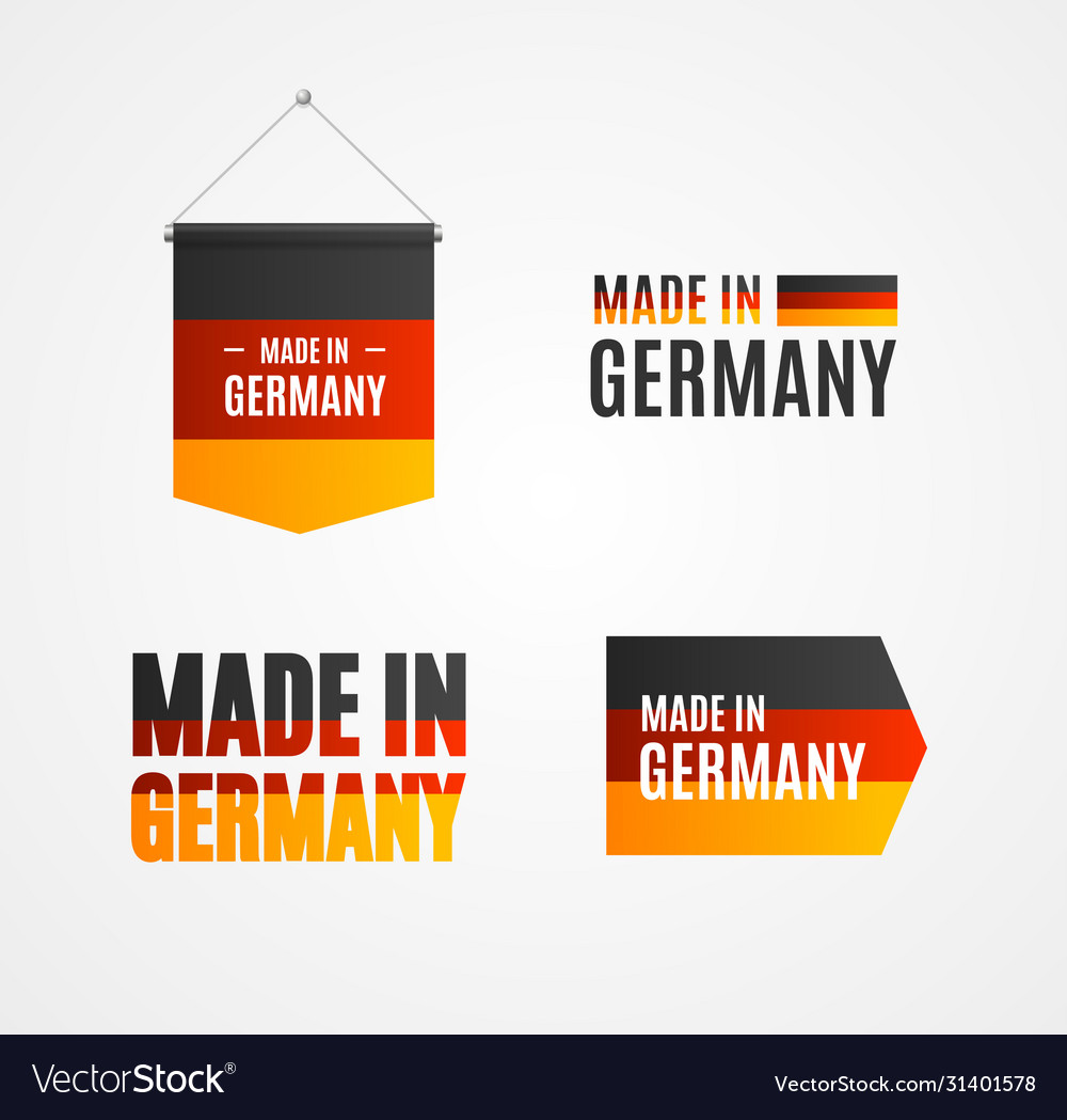 Realistic detailed 3d made in germany sign set