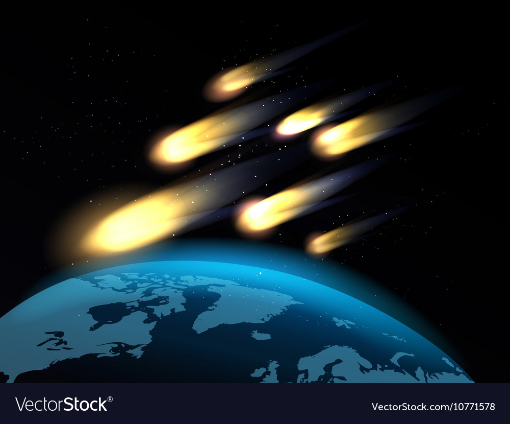 Shooting stars over globe map